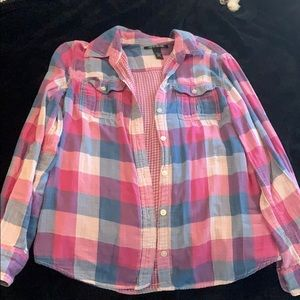 Pink and blue flannel by Lucky Brand!